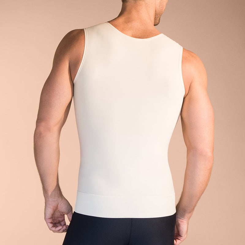 Marena Recovery style MTT Sleeveless compression Tank top, close up front view in beige