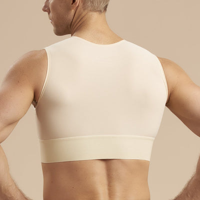 Marena Recovery style MVS Short compression vest with zipper and velcro straps, back detail view in beige