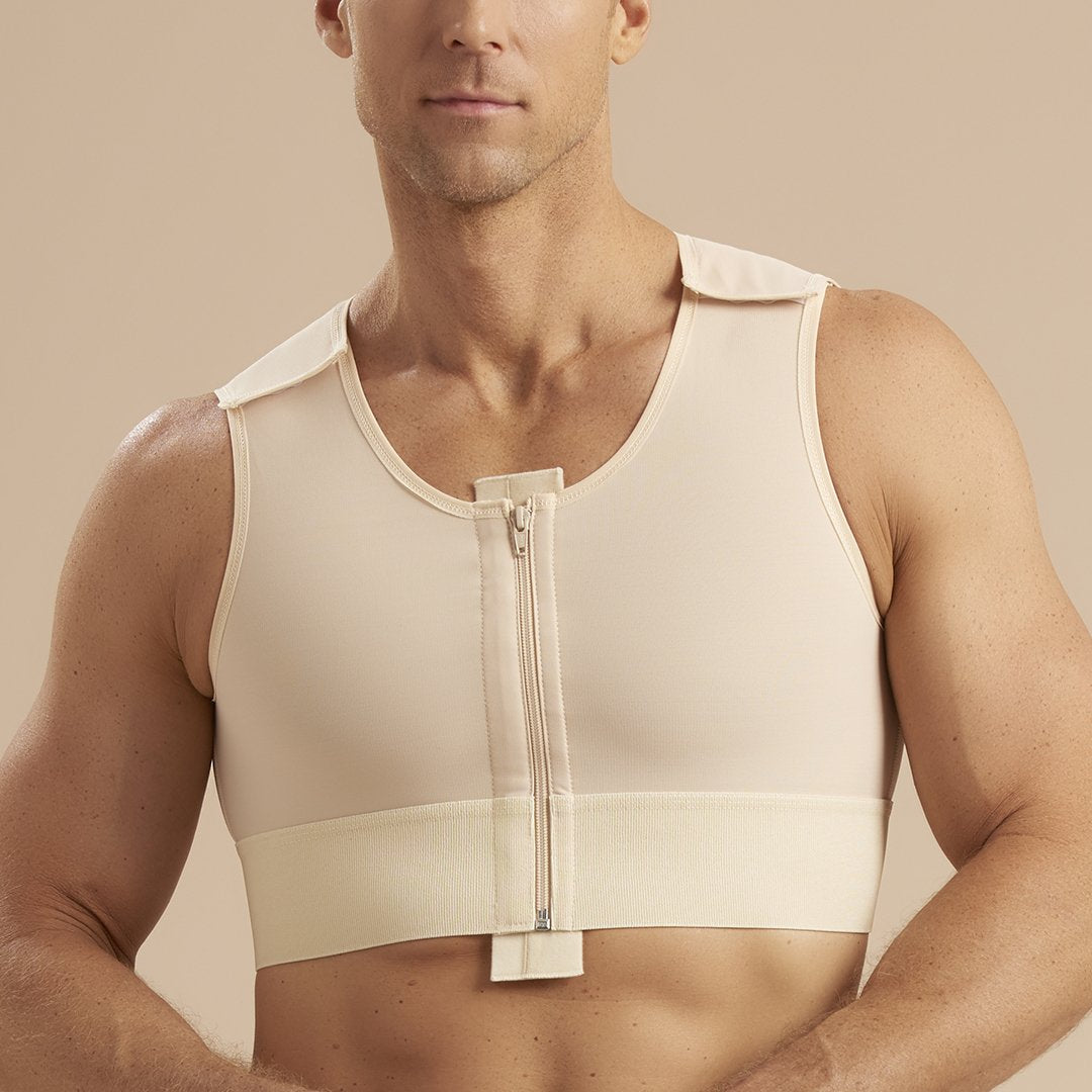 Marena Recovery MVS Short compression vest with zipper and velcro straps front detail in beige