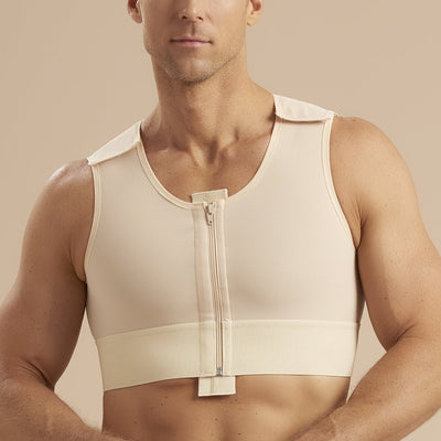 Marena Recovery style MVS Short compression vest with zipper and velcro straps, front detail view in beige