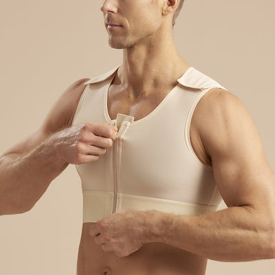 Marena Recovery style MVS Short compression vest with zipper and velcro straps, side zipper detail  view in beige