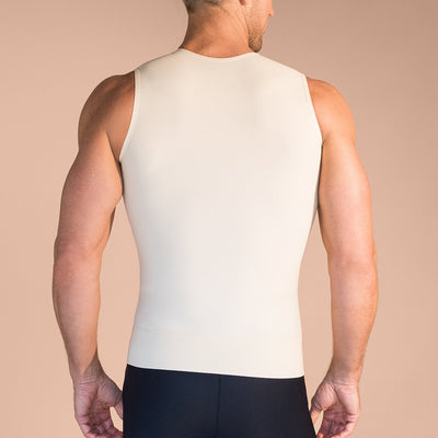 Marena Recovery MV Sleveless compression vest with front zipper and velcro strap back view in beige