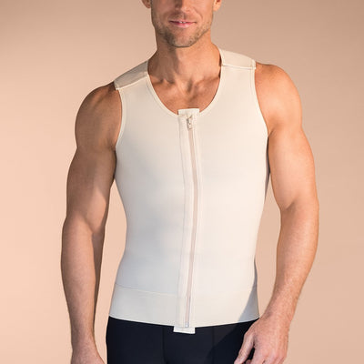 Marena Recovery MV Sleveless compression vest with front zipper and velcro strap front view in beige