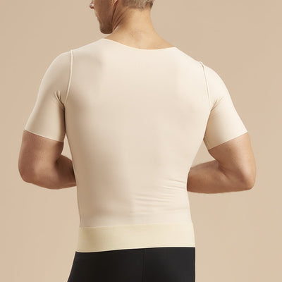 Marena Recovery style MV-SS Short Sleeve compression vest with front zipper, back view in beige