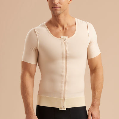 Marena Recovery style MV-SS Short Sleeve compression vest with front zipper, front pose view in beige