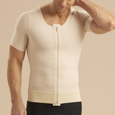 Marena Recovery MV-SS Short Sleeve compression vest with front zipper front pose view in beige