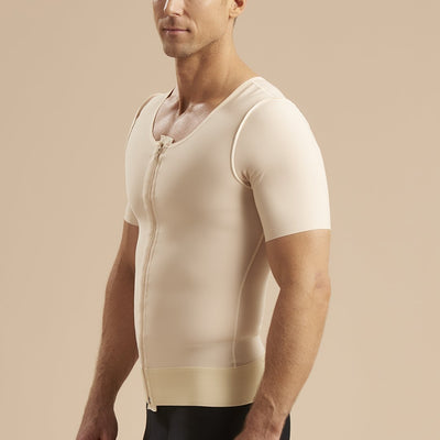 Marena Recovery style MV-SS Short Sleeve compression vest with front zipper, side pose view in beige