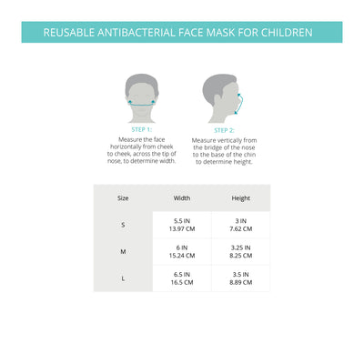 Marena Reusable Antibacterial Children Face Mask SIze Guide