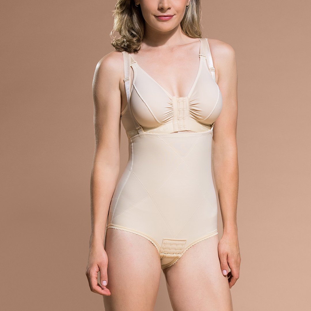 Marena Recovery PPGA Bikini-Waist compression shaper front view in beige