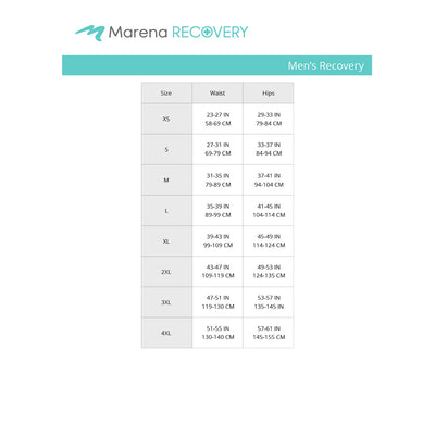 Marena Men's Recovery size chart, waist hips point of measure