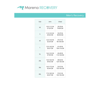 Marena Men's Recovery size chart, arm chest point of mesure