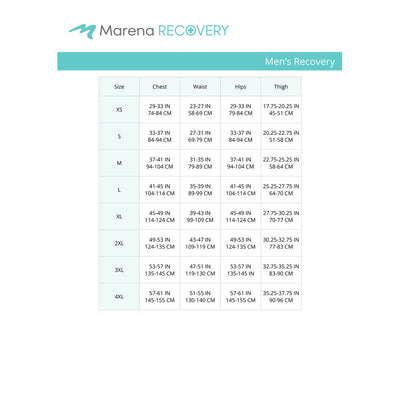 Marena Men's Recovery size chart, chest waist hips thigh point of measure
