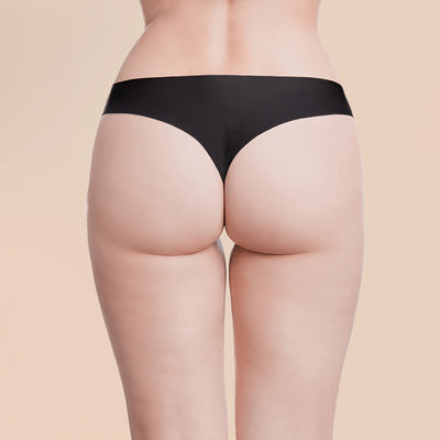 Marena Recovery Single-Use Thong for physician's office use, back view, black