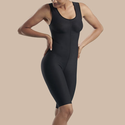 MMarena Recovery style SBBS2 compression bodysuit, front view in black