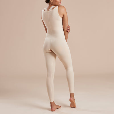 Marena Recovery style SFBHL2 Ankle length compression girdle with high back zipperless, back view in beige