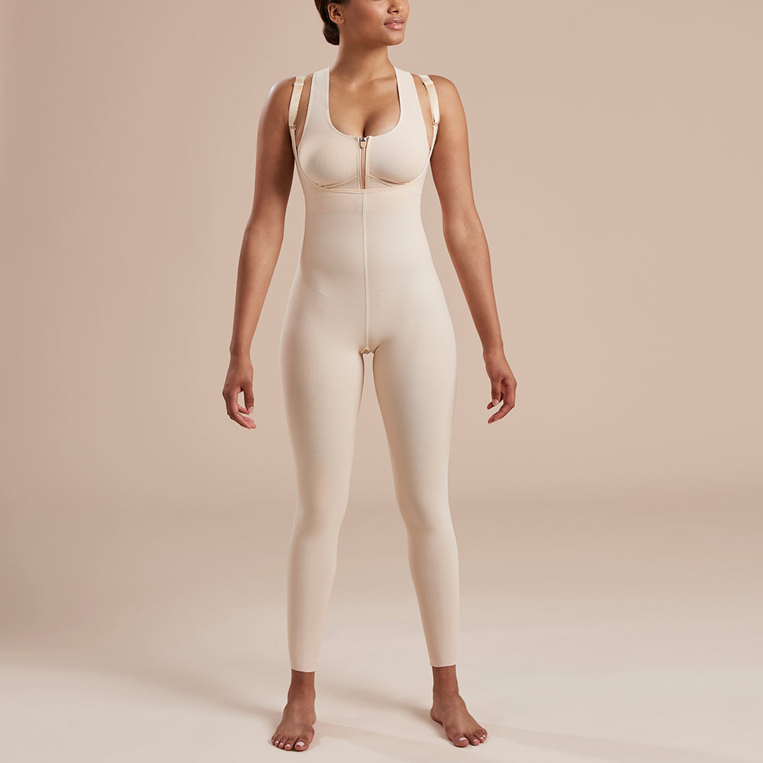 Marena Recovery style SFBHL2 Ankle length compression girdle with high back zipperless, front view in beige