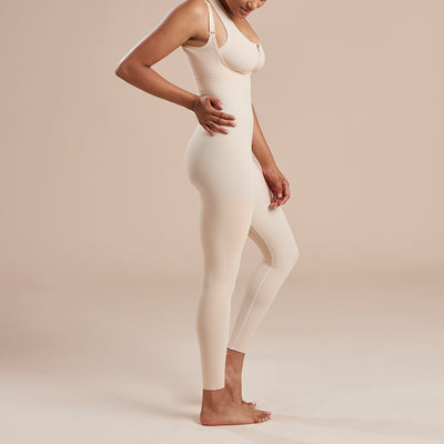 Marena Recovery style SFBHL2 Ankle length compression girdle with high back zipperless, side view in beige