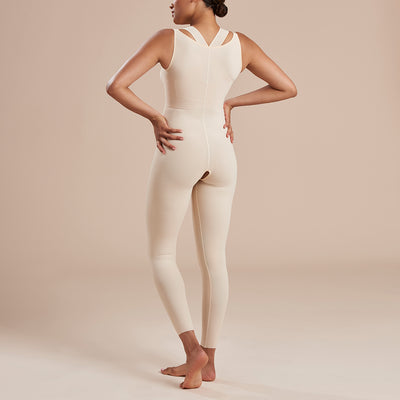 Marena Recovery style SFBHL ankle length compression girdle with high back , back view in beige