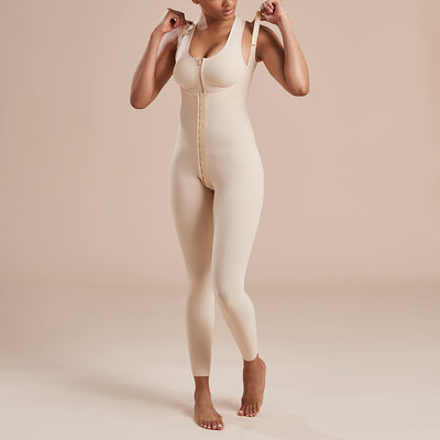 Marena Recovery style SFBHL ankle length compression girdle with high back , detail front view in beige