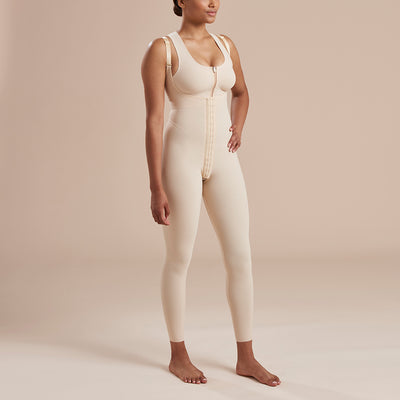 Marena Recovery style SFBHL ankle length compression girdle with high back , front view in beige