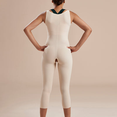 Marena Recovery style SFBHM2 capri length compression girdle with high back no closures, back view in beige