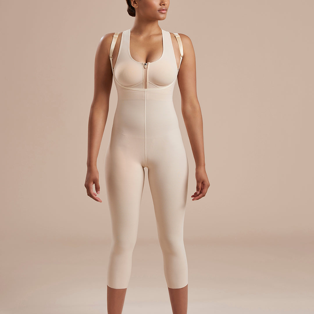 Marena Recovery style SFBHM2 capri length compression girdle with high back no closures,  front view in beige