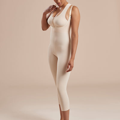 Marena Recovery style SFBHM2 capri length compression girdle with high back no closures, side view in beige