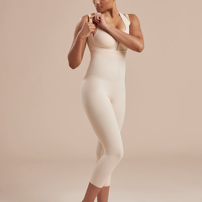 Marena Recovery style SFBHM2 capri length compression girdle with high back no closures, detail front view in beige