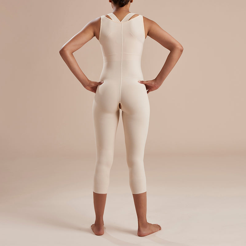 Marena Recovery style SFBHM Capri length compression girdle with high-back front view in beige