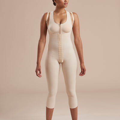 Marena Recovery SFBHM Capri length Girdle with high-back front view in beige
