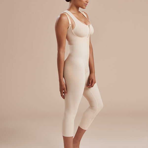 Marena Recovery SFBHM Capri length Girdle with high-back side view in beige