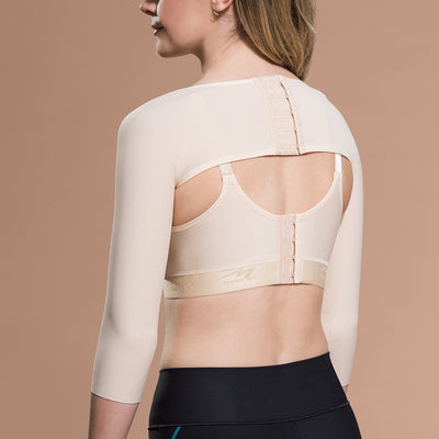 Marena Recovery style SM 3/4 length compression sleeve, back view in beige