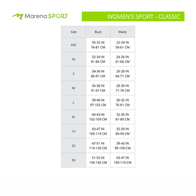 Marena Sport Women's Classic size chart, bust waist point of measure