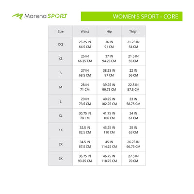 Marena Sport Women's Core size chart, waist, hip and thigh point of measure