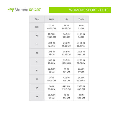 Marena Sport Women's Elite size chart, waist hip thigh point of measure