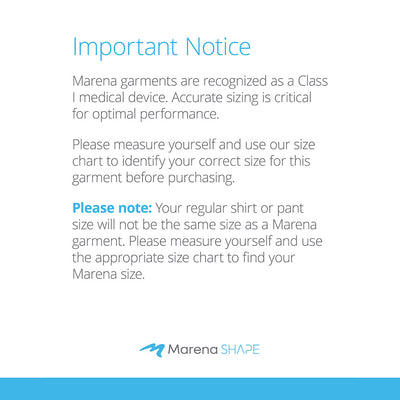Marena Shape sizing disclaimer