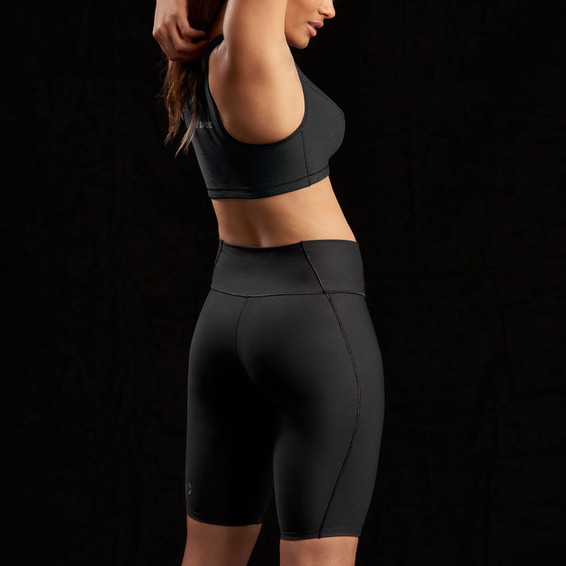 Marena Sport style 224 Core Natural Waist compression short front pose view, in black
