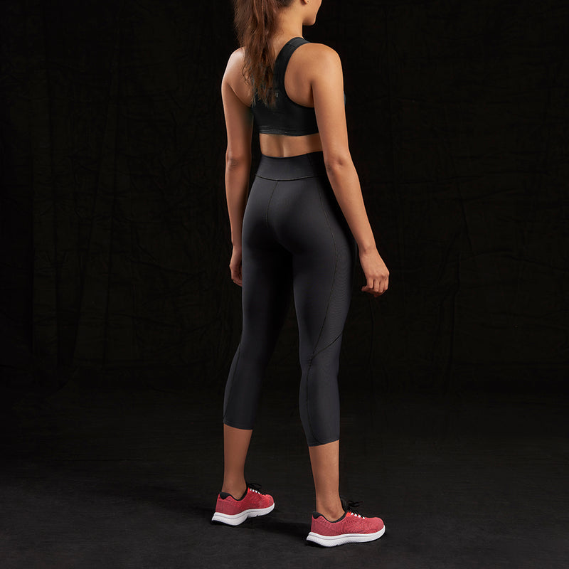 Marena Sport style 225 Core Natural Waist Capri length compression legging front pose view, in black