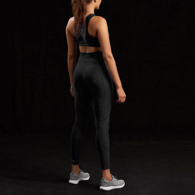 Marena Sport style 226 Natural waist compression legging, back view in black