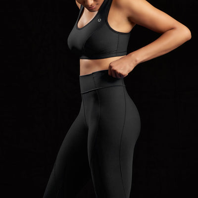 Marena Sport style 226 Natural waist compression legging, side detail view in black