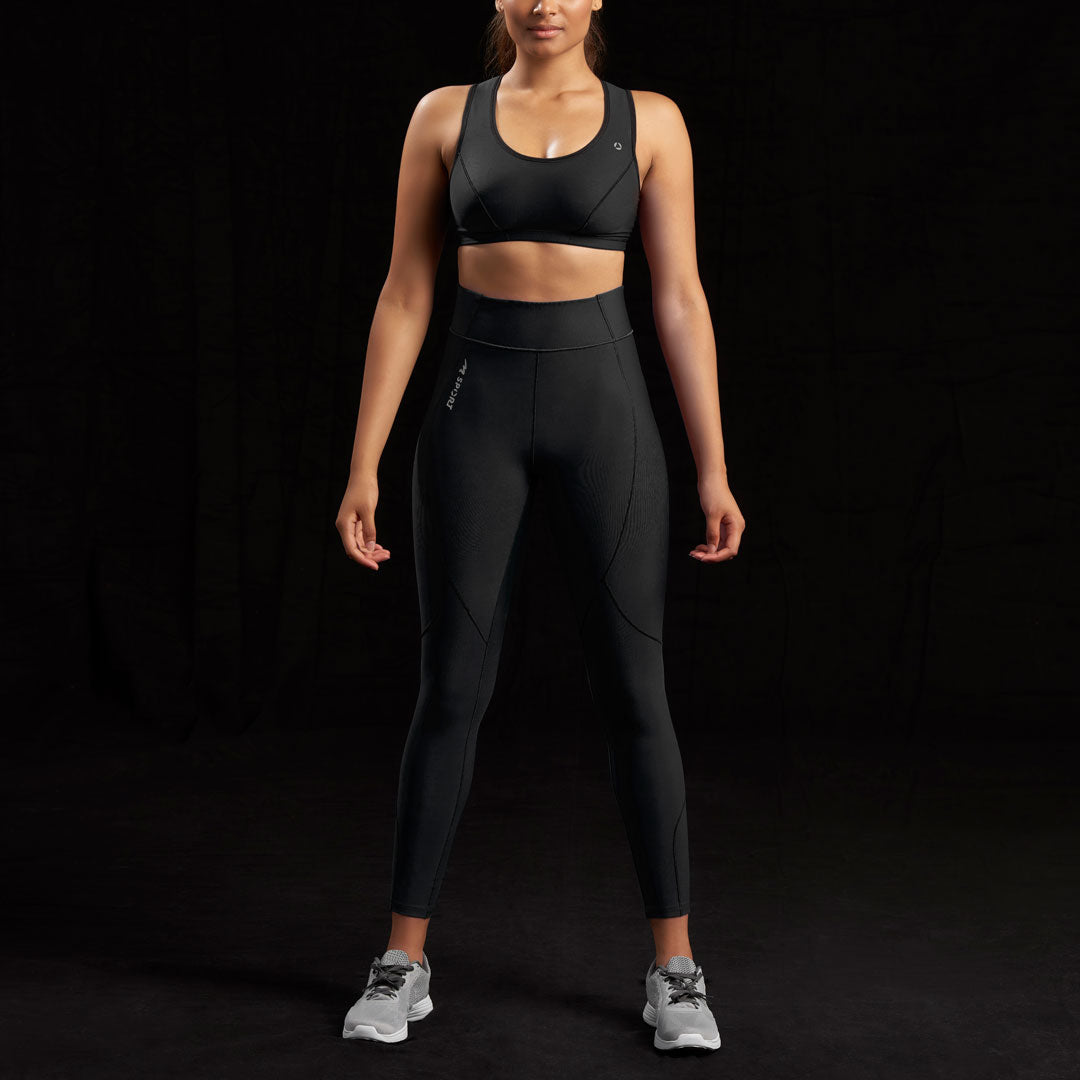 Marena Sport style 226 Natural waist compression legging, front view in black