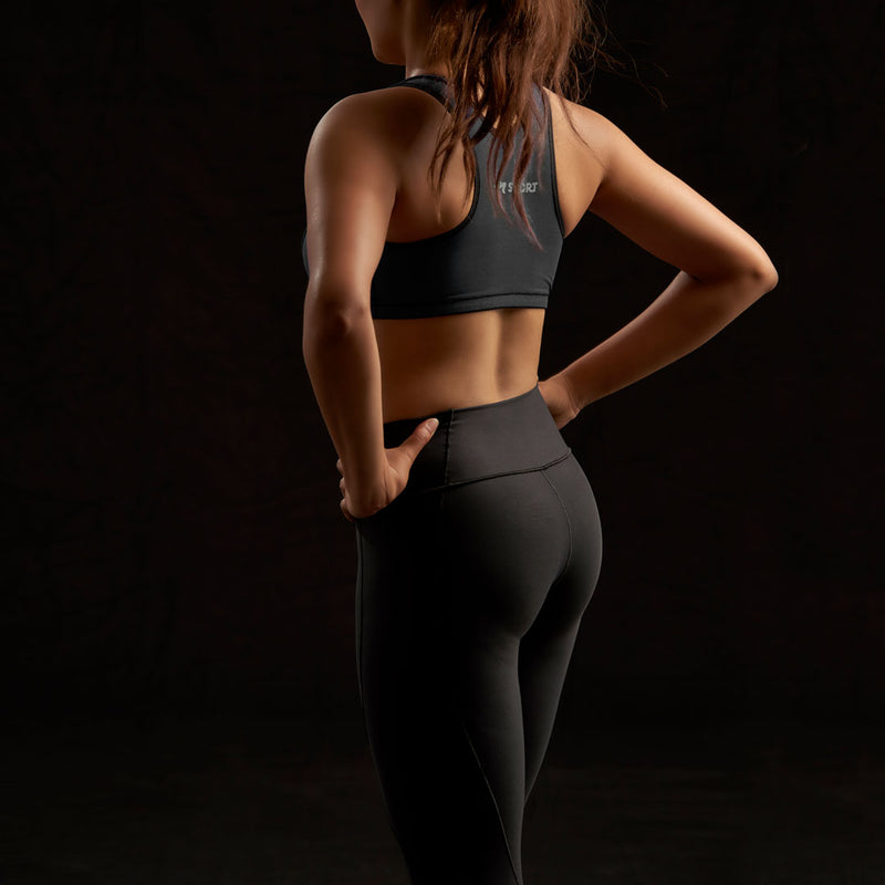Marena Sport style 230 Elite Compression Legging - Low Waist - regular Inseam front view, in black