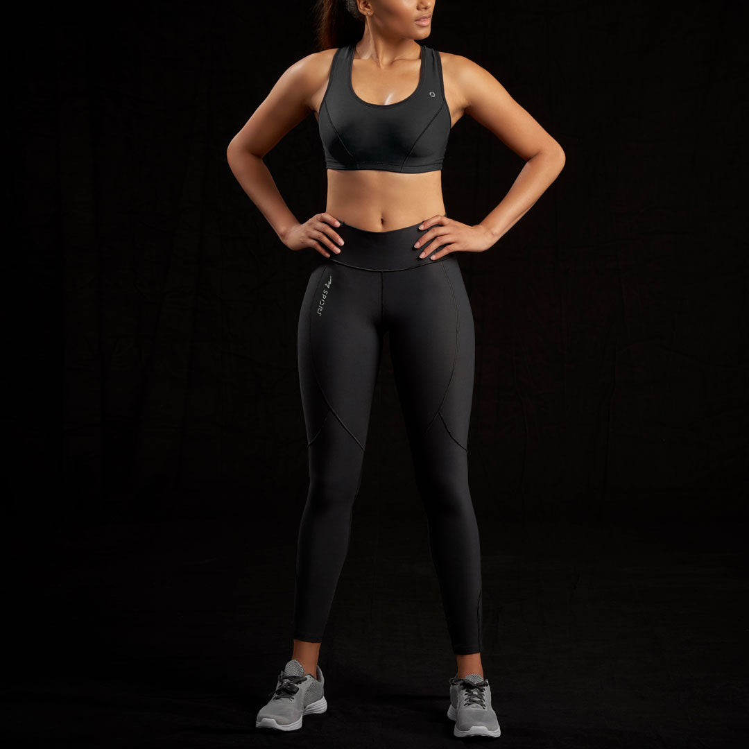 Marena Sport style 230 Elite Compression Legging - Low Waist - Long Inseam front view, in black