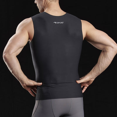 Marena Sport 500 Compression Tank-top full back view, in black