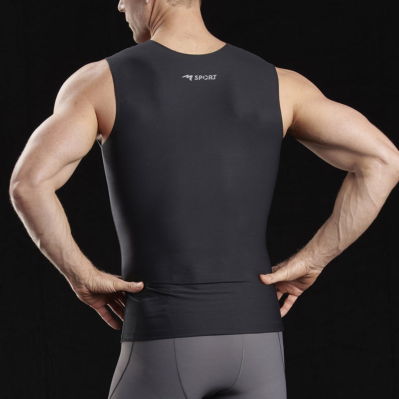 Marena Sport style 500 Compression Tank top, front close up view in black