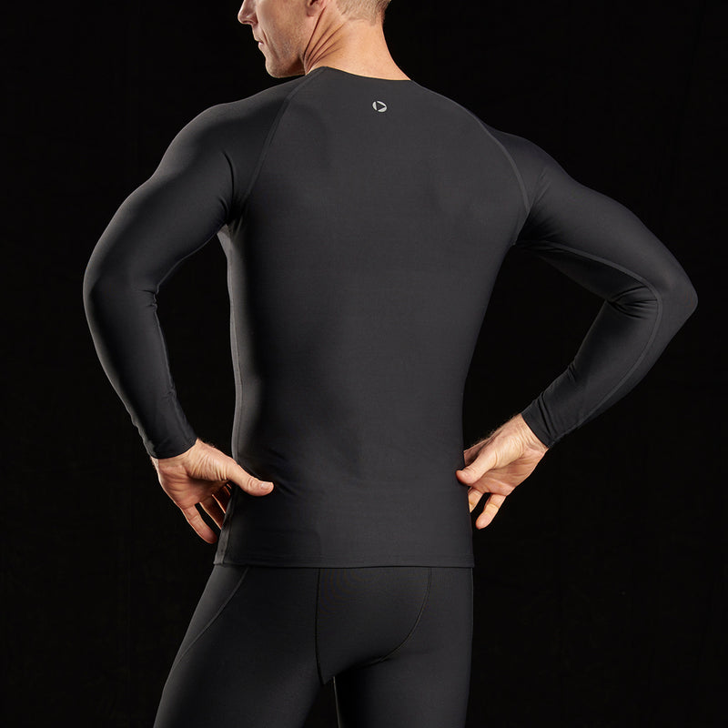 Marena Sport style 503 Long sleeve compression shirt close-up front view, in black