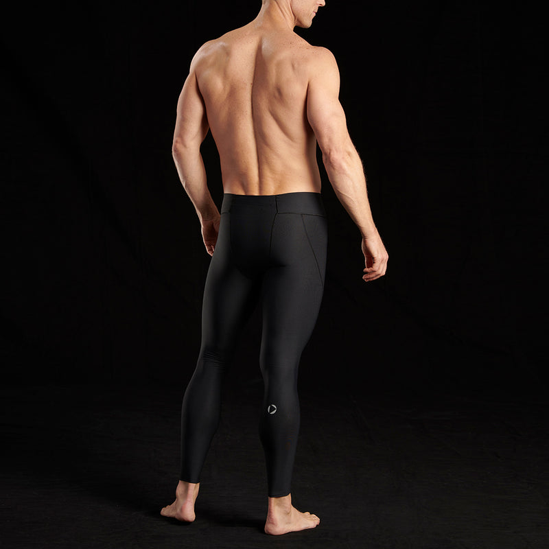 Marena Sport style 609 Elite Compression pants natural waist close up front view, in black