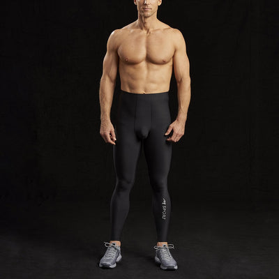 Marena Sport 626 Pro Compression Pants-Natural waist front view, in black