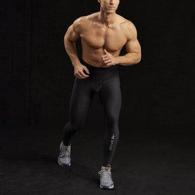 Marena Sport 626 Pro Compression Pants-Natural waist running pose, in black