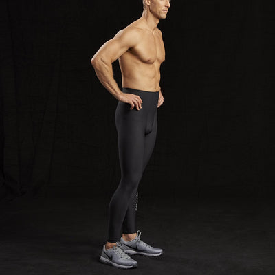 Marena Sport style 626 Pro Compression Pants-Natural waist side view, in black